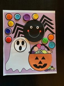 Halloween Cut and Paste with Button Fine motor Activity