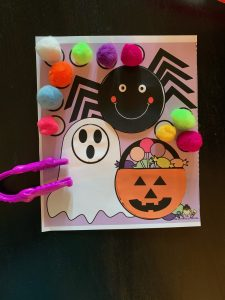 Halloween Cut and Paste with Tong Fine Motor Activity