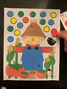Scarecrow Fine Motor Sticker Activity