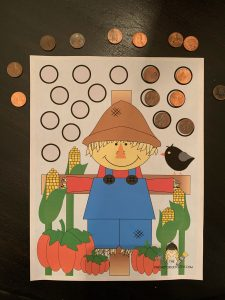 Scarecrow Fine Motor Activity with pennies