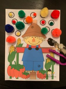 Scarecrow Fine Motor Activity with Tongs