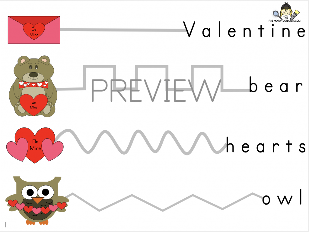 Valentine's Day Pencil Control Printable