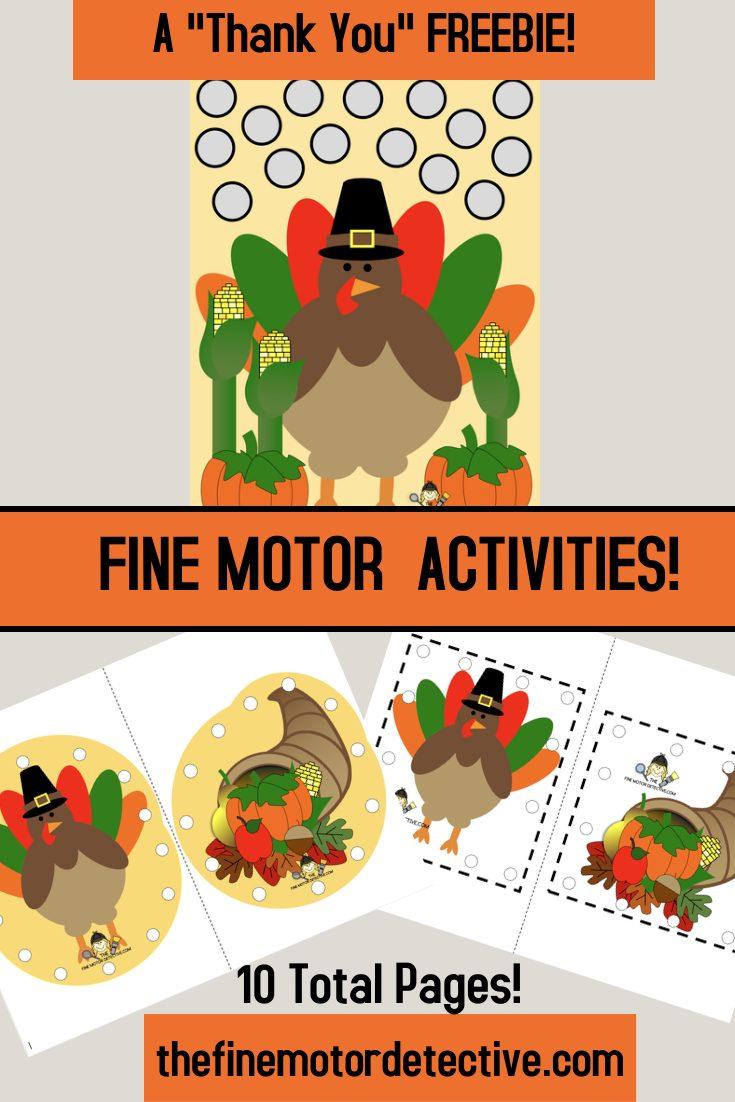 Free Thanksgiving Fine Motor Printables